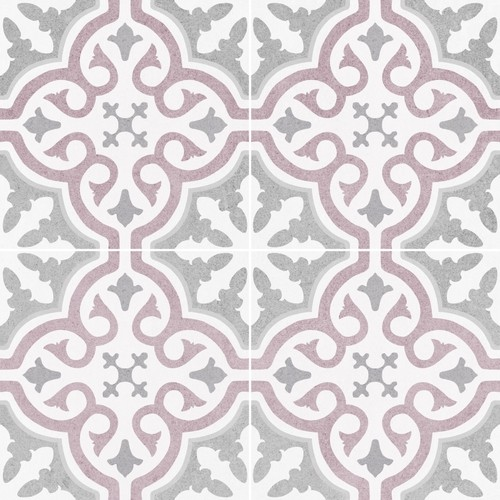 Carrelage imitation ciment rosace lie de vin OLD SCHOOL BRIANA ROSE 45x45 cm - 1.42m² - zoom