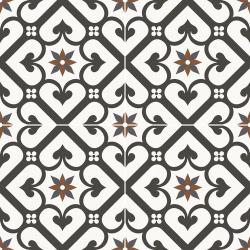 Carrelage style ciment mono-motif carreau rouge et noir OLD SCHOOL GALES CLASSIC 45x45 cm - 1.42m² Dualgres