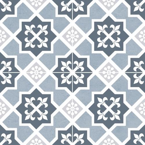 Carrelage style ciment monomotif rosace bleu OLD SCHOOL LESTER BLUE 45x45 cm - 1.42m² Dualgres