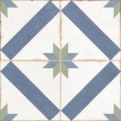 Carrelage style ciment étoile blanc et bleu OLD SCHOOL MARAU R10 45x45 cm - 1.42m² Vives Azulejos y Gres