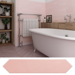 Faience navette crayon rose brillant 5x25 cm ARROW BLUSH PINK 25823 - 0.50 m² Equipe