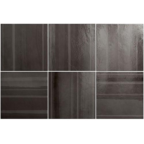 Faience nuancée gris foncé 20x20 cm CALA DECOR OBSIDIAN 25395 - 1m² - zoom