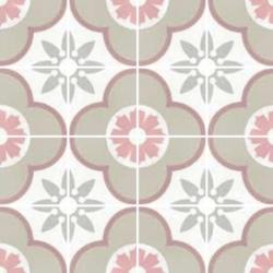 Carrelage imitation ciment rosace fleur 20x20 cm CAPRICE FLOWER PASTEL 22107 - 1m² Equipe