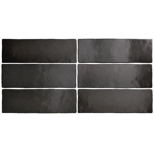 Faience dénuancée noir 6.5x20 cm MAGMA BLACK COAL 24962 - 0.5m² - zoom