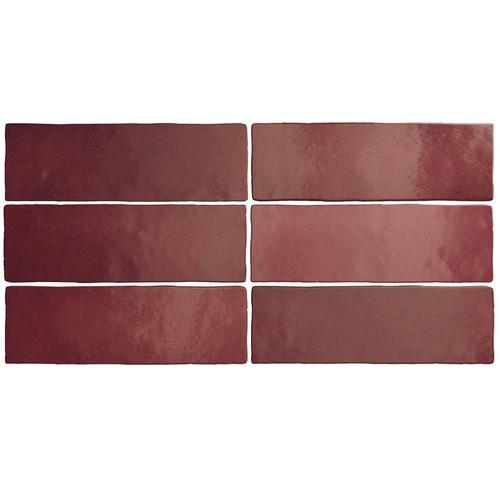 Faience dénuancée bordeaux 6.5x20 cm MAGMA BURGUNDY 24967 - 0.5m² Equipe