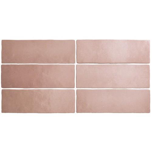 Faience dénuancée rose corail 6.5x20 cm MAGMA CORAL PINK 24961 - 0.5m² Equipe