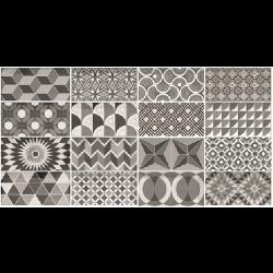 Carrelage METRO 21396 décor ciment PATCHWORK Noir et Blanc 7.5x15 cm - 0.5m²