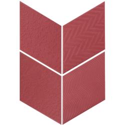Carrelage losange diamant 14x24cm rouge relief ref. 21312 RHOMBUS MAT - 1m²