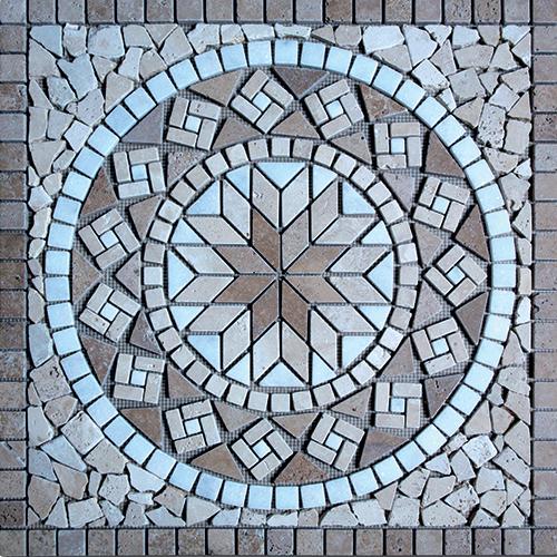 Rosace Travertin Noce / Travertin Beige / Afyon white 61x61 cm - R002 SF