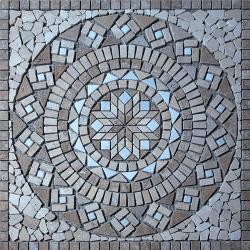 Rosace Travertin Noce / Travertin Beige / Afyon white 80x80 cm - R002