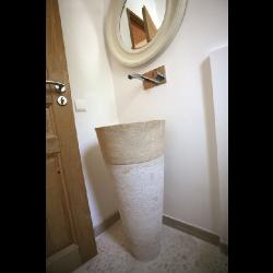 Vasque Colonne Conique Striée Travertin beige diam 42x85 cm SF