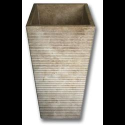 Vasque Colonne Carrée Grosses Stries Indonésie Beige 42x42x90 cm