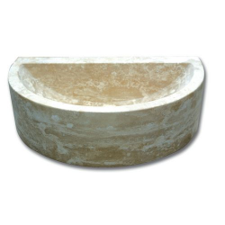 Demi vasque pierre travertin beige 42x26x12 cm