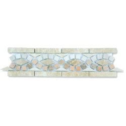 Frise pierre BSR Travertin Arizona / Marbre Beige BB / Marbre Beige Imperator 33x9 cm