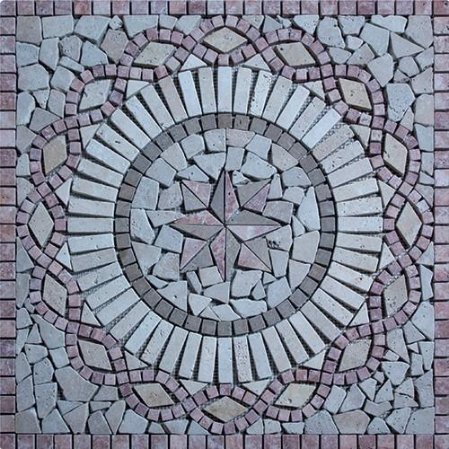 Rosace Travertin Rouge / Travertin Jaune 80x80 cm - R006 SF