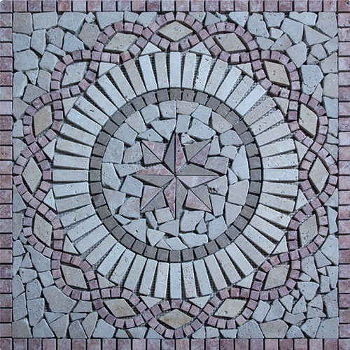 Rosace Travertin Rouge / Travertin Jaune 80x80 cm - R006 - zoom