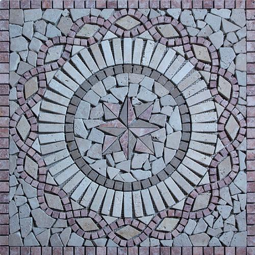 Rosace Travertin Rouge / Travertin Jaune 60x60 cm - R006 SF