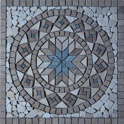 Rosace Travertin Noce / Travertin Beige / Marbre Vert 61x61 cm - R007
