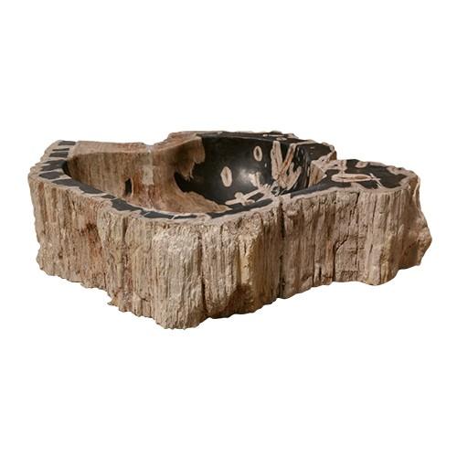 Vasque en bois fossilisé modèle 5 - zoom