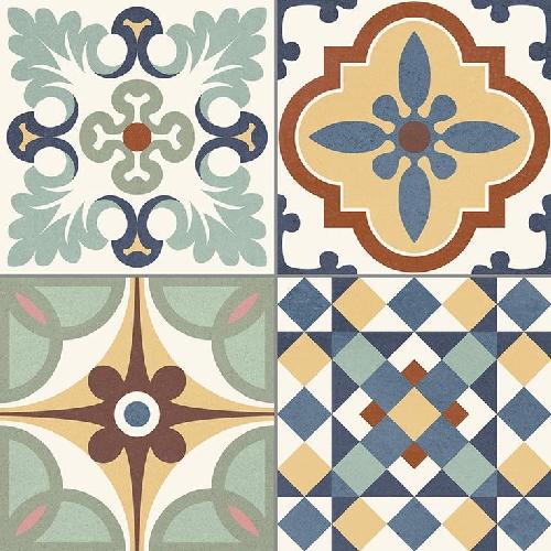 Carrelage style ancien ciment coloré provençal style d antan HERITAGE MIX 33x33 cm - 1.32m² - zoom