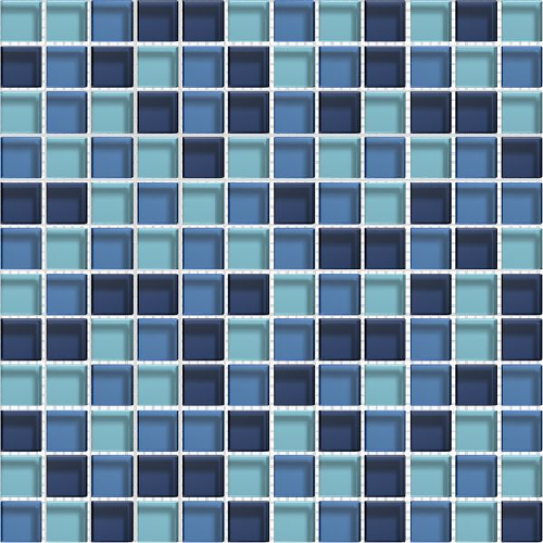 Mosaique bleue Glasmosaik blaumix 2.3x2.3 cm - 30x30 - unité - zoom