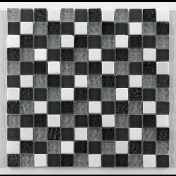 Mosaique gris noir blanc Glasnaturstein tuscany silver grey 2.3x2.3 cm - 30x30 - unité Barwolf