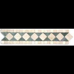 Frise pierre Marbre Vert Téos / Marbre Beige GM102 33.3x7 cm - unité