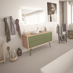 Meuble salle de bain rétro scandinave 100 cm ISEO Wueko