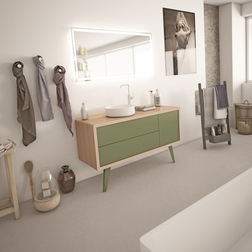 Meuble salle de bain rétro scandinave 100 cm ISEO - zoom