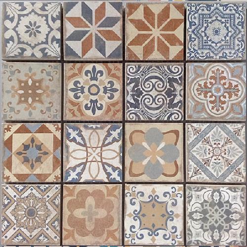 Malla Antic - Mosaique grès cérame 29x29cm - imitation ciment - unité - zoom