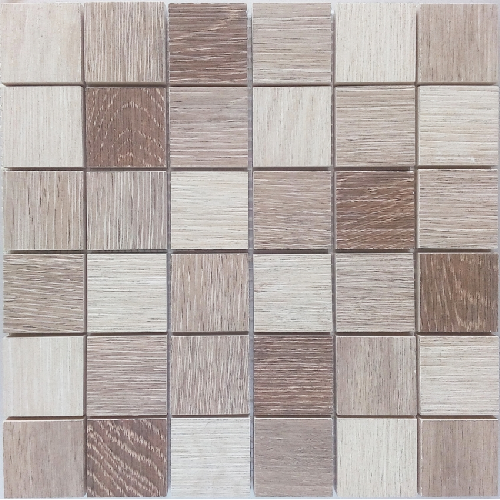 Malla Wood mix Beige - Mosaique imitation bois - grès cérame 29x29cm - unité - zoom