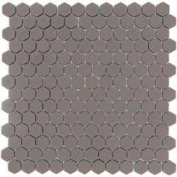 Mosaique Mini tomette hexagonale SADDLE23 25x13mm taupe mat - 0.85m² Ston