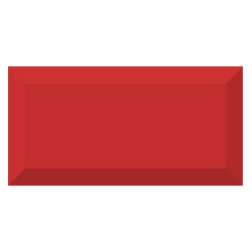 Carrelage métro biseauté brillant rouge 10x20cm MUGAT ROJO - 1m² - zoom