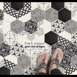 Carrelage tomette design N&B arabesque 15x17cm MODELI MIX - 0.5m²