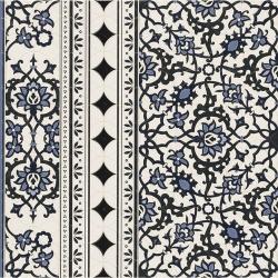 Carrelage azulejos fleurs bleues ORLY DECO CENEFA (bordure) 44x44 cm - 1.37m²