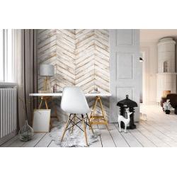 Chevron imitation bois blanc 8x40 cm BORA CHV WHITE espiga droite et gauche - 0.96 m² Oset
