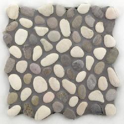 Mosaique galet blanc gris et rosé 30x30 cm - unité