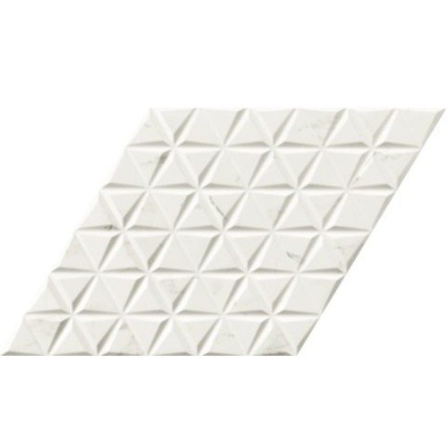 Carrelage losange blanc marbré statuario 70x40 DIAMOND CALACATTA WAVES - 0.98m² - zoom