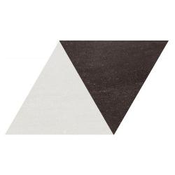 Carrelage losange bicolore géant blanc noir 70x40 DIAMOND CITY TRI WB - 0.98m² Realonda