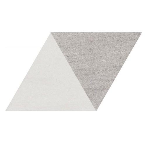 Carrelage losange bicolore géant blanc gris 70x40 DIAMOND CITY TRI WG - 0.98m² - zoom
