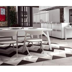 Carrelage losange bicolore géant blanc gris 70x40 DIAMOND CITY TRI WG - 0.98m² Realonda