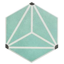 Carrelage tomette géométrique 33x28.5 OSAKA AQUA - 1m²