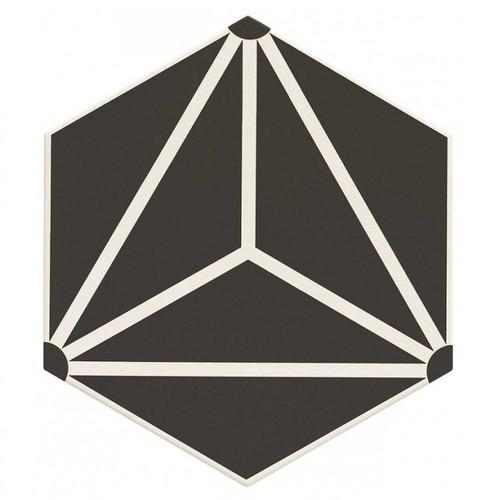 Carrelage tomette géométrique33x28.5 OSAKA BLACK - 1m² Realonda