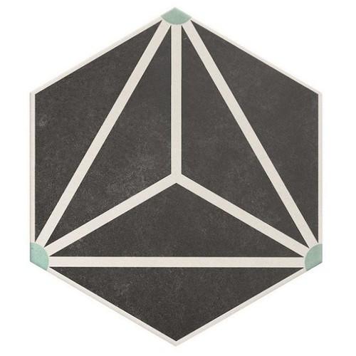 Carrelage tomette géométrique33x28.5 OSAKA CHARCOAL - 1m² Realonda