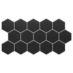 Carrelage tomette noire mate effet joint blanc 26.5x51 cm HEX BLACK - 0.95m² Realonda