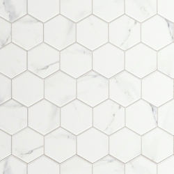 Carrelage tomette marbré 26.5x51 cm HEX CALACATTA- 0.95m² Realonda
