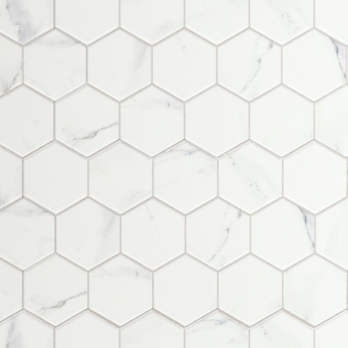 Carrelage tomette marbré 26.5x51 cm HEX CALACATTA- 0.95m² - zoom