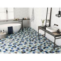 Carrelage tomette décorée style ciment bleu 26.5x51 cm HEX NOUVEAU BLUE - 0.95m² Realonda