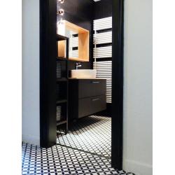 Carrelage Quatre-feuille noir 33x33 cm HANOI CIRCLE BLACK - 1m Realonda