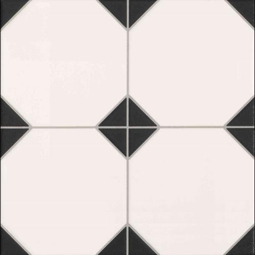 Carrelage mur et sol imitation octogonal à cabochon 33x33 cm OXFORD NEGRO - 1m² - zoom